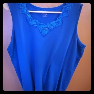 Blue Embroidered Dress Tank